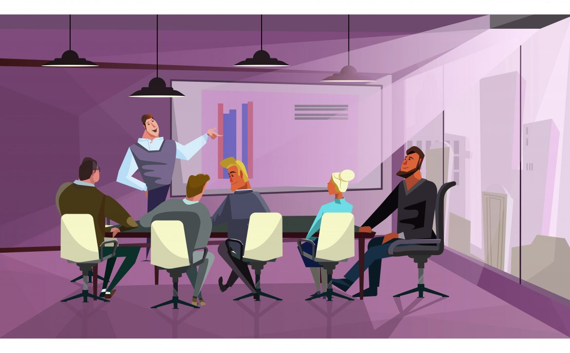 Business people discussing company finances vector illustration