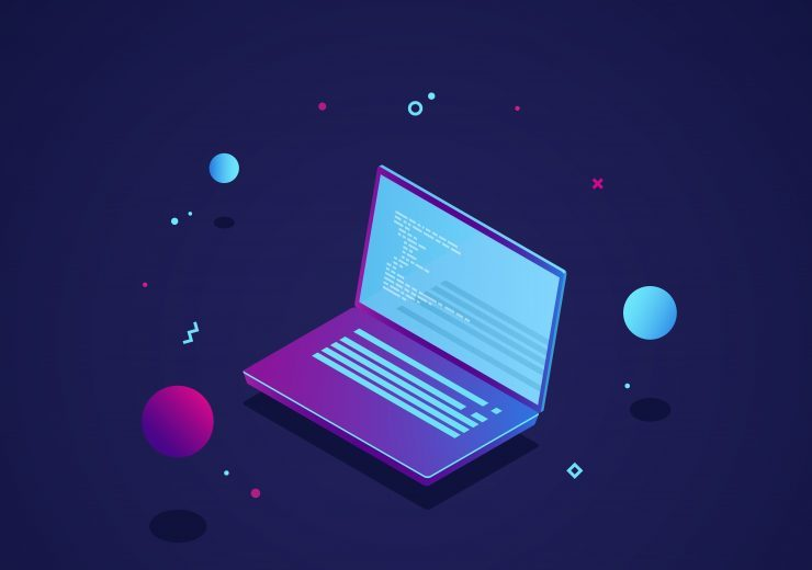 Programming of application and software development concept, laptop with program code on screen, vector illustration isometric neon dark